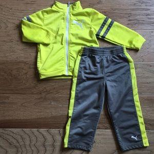 Puma Yellow Gray Jacket Pants Track Set 24 months